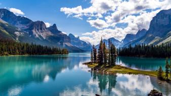 spirit island on maligne lake, jasper national park, alberta, canada, природа, реки, озера, spirit, island, on, maligne, lake, jasper, national, park