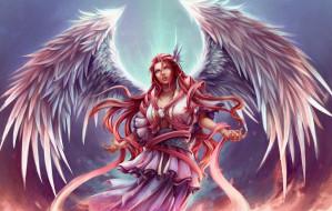 фэнтези, ангелы, девушка, фон, крылья
