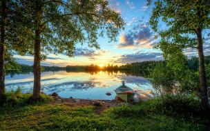 река, моторная, лодка, закат
