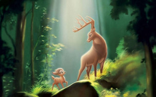 обои для рабочего стола 1920x1200 мультфильмы, barbie, бэмби, олени, лес