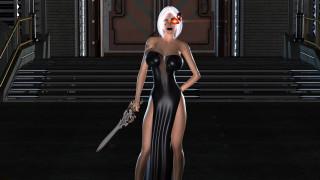 3д графика, фантазия , fantasy, девушка, фон, взгляд, меч, платье