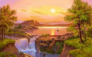 рисованное, природа, пейзаж, деревья, горы, озеро, водопад