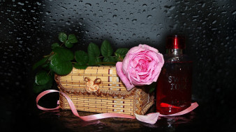обои для рабочего стола 1920x1080 разное, косметические средства,  духи, картинка, роза, ленточка, духи