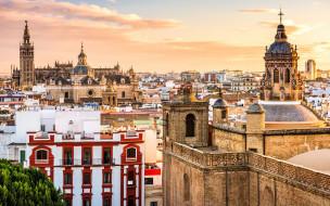 города, севилья , испания, археологический, музей, вечер, закат, городской, вид, панорама, севилья