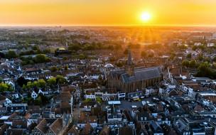 города, - пейзажи, amerfoort, закат, городской, вид, линия, горизонта, utrecht, нидерланды, европа