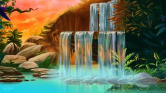 водопад, камни, озеро, джунгли, пейзаж