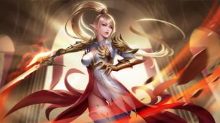 девушка, фон, ушки, униформа, меч