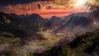 авиация, воздушные шары дирижабли, горы, долина, шары, воздушные, полет