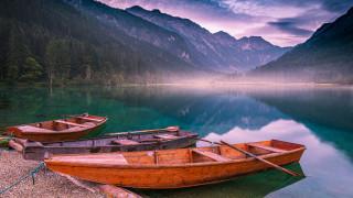 горы, лодки, озеро, туман