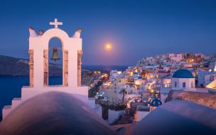обои для рабочего стола 1920x1200 города, санторини , греция, луна, ночь, огни, панорама, колокол