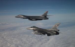 обои для рабочего стола 2880x1800 авиация, разные вместе, rockwell, b1, lancer, b1b, сверхзвуковой, тяжелый, бомбардировщик, general, dynamics, f16, fighting, falcon, американский, боевые, самолеты, ввс, сша
