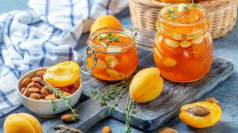еда, мёд,  варенье,  повидло,  джем, джем, абрикосы, орехи, миндаль, розмарин