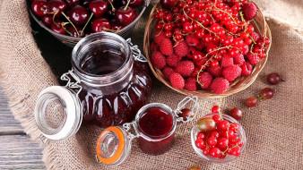 еда, мёд,  варенье,  повидло,  джем, варенье, ягодное, черешня, малина, смородина