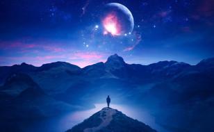небо, планеты, космос, человек, горы, река