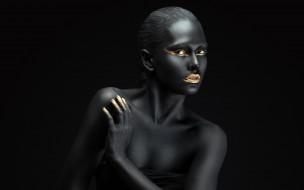 девушки, - креатив,  косплей, чёрный, цвет, креатив, боди-арт, cosplay, брюнетка, девушка, модель, макияж, причёска, взгляд
