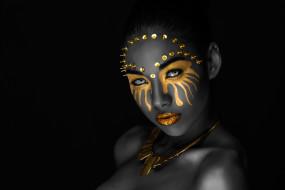 девушки, - креатив,  косплей, чёрный, цвет, креатив, боди-арт, cosplay, брюнетка, девушка, модель, макияж, причёска, взгляд, claudia, coba, sanchez