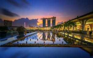 обои для рабочего стола 1920x1200 города, сингапур , сингапур, вечер, закат, городской, вид, роскошный, отель, азия