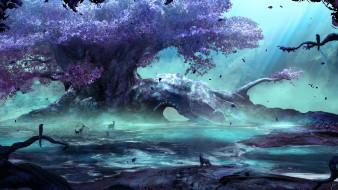 дерево, арка, руны, животные