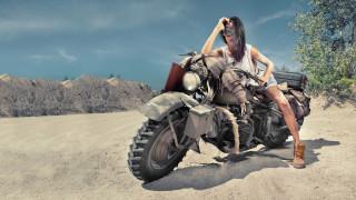 Девушка, мотоцикл, bike, модель, брюнетка, красотка, поза, взгляд, макияж