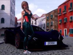 девушка, фон, униформа, автомобиль