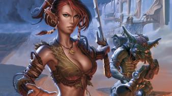 видео игры, silverfall, девушка, эльф, оружие, гоблин, стена