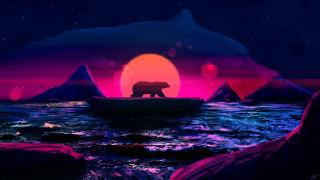 обои для рабочего стола 2560x1440 векторная графика, животные , animals, медведь, море, айсберги, льдина