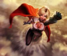 рисованное, комиксы, девушка, полет, плащ, костюм, супергерой