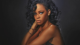 rihanna, рисованное, люди, девушка, модель, певица, лицо, портрет, мулатка, взгляд, макияж, причёска, красотка, темнокожая