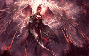 фэнтези, ангелы, девушка, ангел, крылья, мечи