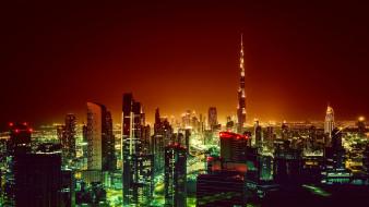 обои для рабочего стола 2560x1440 города, дубай , оаэ, бурдж-халифа, самое, высокое, сооружение, огромное, многоэтажное, здание, город, ночь, огни, эмират, дубай