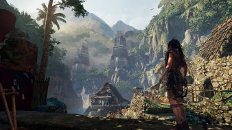 видео игры, shadow of the tomb raider, лара, крофт, скалы, город