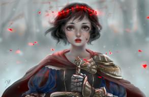 фэнтези, девушки, девушка, венок, лепестки, плащ, меч
