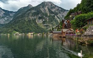обои для рабочего стола 1920x1200 города, гальштат , австрия, горы, озеро, дома