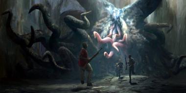 фэнтези, существа, монстр, щупальца, люди, оружие