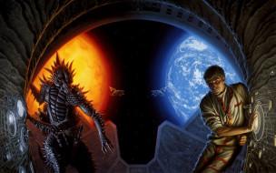 фэнтези, существа, инопланетянин, человек, арка, планеты, корабли