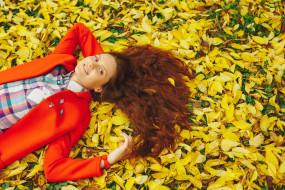 девушки, - рыжеволосые и разноцветные, осень, листопад, листья, рыженькая, красное, пальто