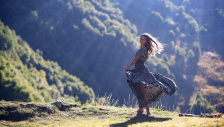 девушки, - брюнетки,  шатенки, горы, девушка, тень, платье
