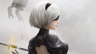видео игры, nier,  automata, 2в, андроид, девушка, меч