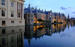 обои для рабочего стола 1920x1200 города, гаага , нидерланды, канал, набережная, огни, вечер, здания