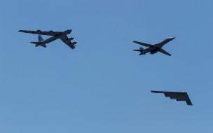 авиация, разные вместе, rockwell, b-1, lancer, northrop, grumman, b-2, spirit, boeing, b-52, stratofortress, бомбардировщик, стратегический, военные, самолеты, ввс, сша