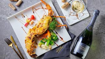 еда, рыбные блюда,  с морепродуктами, лангуст, вино