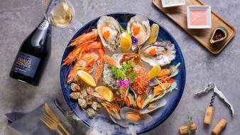 еда, рыбные блюда,  с морепродуктами, устрицы, креветки, краб, вино