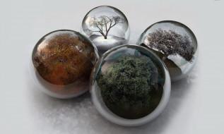 3д графика, шары , balls, шары, времена, года, деревья
