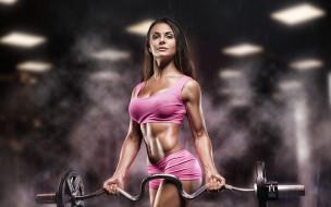 спорт, фитнес, девушка, модель, штанга, брюнетка, подтянутая, тренировка, красотка, поза, мышцы, стройная