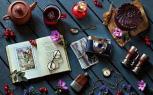 еда, натюрморт, книга, фотоаппарат, очки, кофе, пирожное