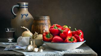 еда, овощи, перец, лук, чеснок, бочонок
