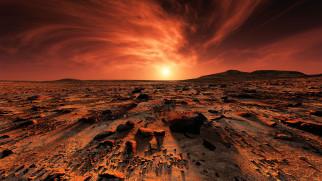 марс, космос, планета, вселенная, поверхность, грунт, камни, красная, горизонт, пространство, пустыня