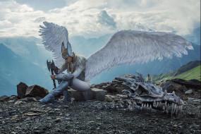 Darya Lefler обои для рабочего стола 1920x1280 darya lefler, девушки, дарья лефлер, darya, lefler, ангел, крылья, череп, дракон, кости, горы, белый, перья, красотка, дарья, лефлер, cosplay, блондинка, девушка, модель, наряд, поза, макияж, причёска, взгляд