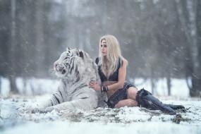 Darya Lefler обои для рабочего стола 1920x1281 darya lefler, девушки, дарья лефлер, darya, lefler, тигр, белый, животное, хищник, альбинос, снег, дарья, лефлер, cosplay, блондинка, девушка, модель, наряд, поза, макияж, причёска, взгляд