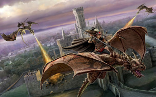 фэнтези, драконы, всадники, нападение, замок, город